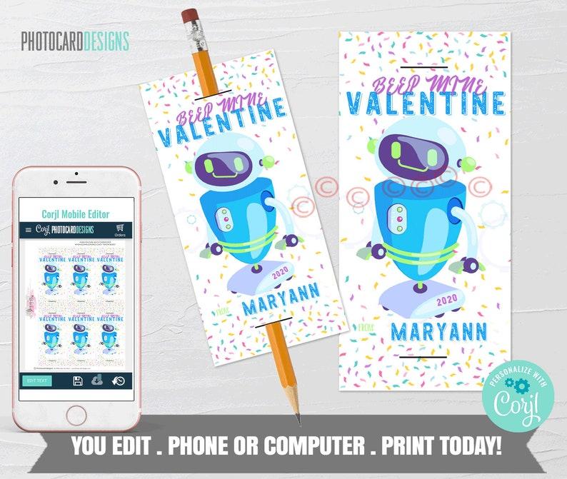 Robot Valentine Pencil Valentines Non Candy Valentine Boy image 0