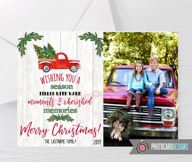 Family Christmas Card Red Truck with Christmas Tree Rustic image 0