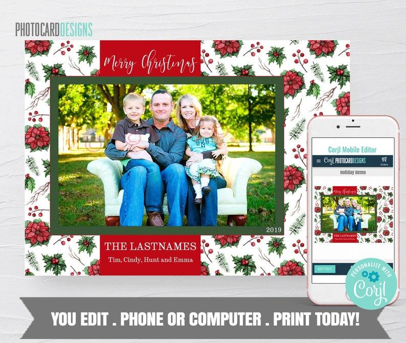 Family Christmas Card Christmas Photo Card Floral Christmas image 0