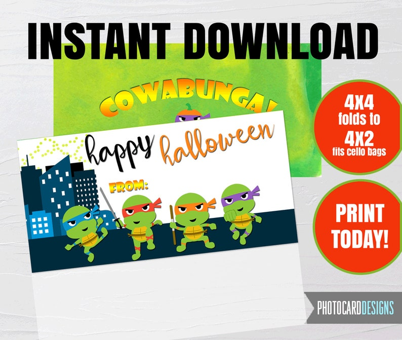 Ninja Turtle Treat Bag Topper TMNT Halloween Printable image 0