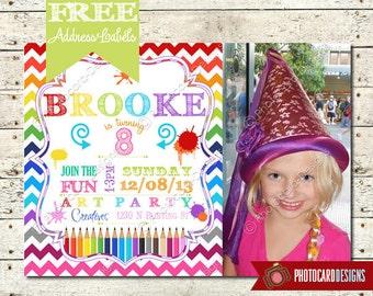 Art Invitation, Art Party Birthday Invitation, Photo Invitation, Craft, Paint, Party. Printable, Digital. Print file, invite, Art, Painting