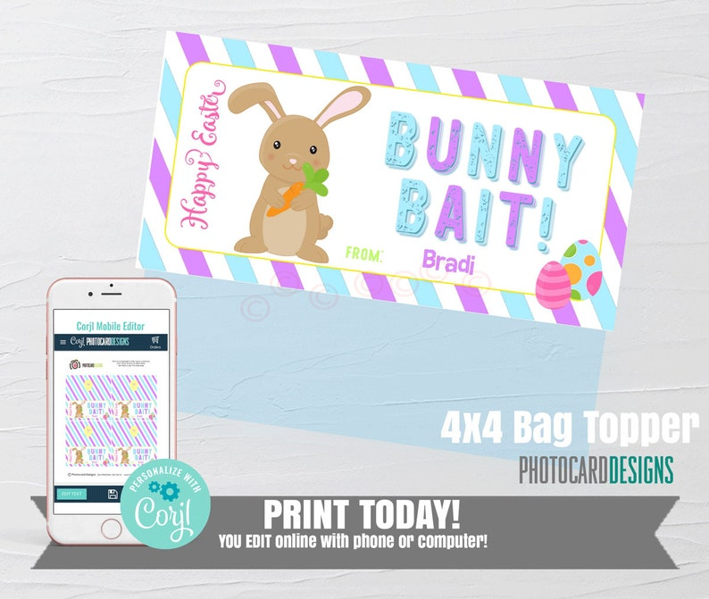 Easter Gift Tags Bunny BAIT Bag Topper Easter Printable image 0