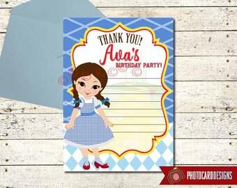 Wizard of OZ Birthday Thank You, Wizard of Oz Birthday, Dorothy, Birthday, Halloween Thank You, Thank You Card, Digital,Fill in Blank