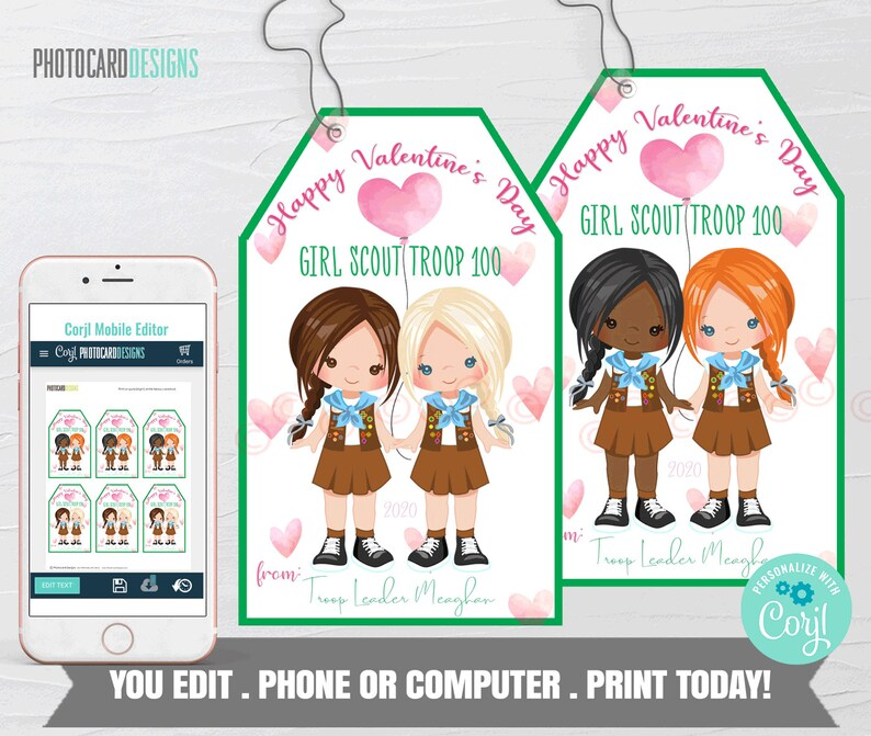 Girl Scout Valentine Girl Scouts Valentine Tag Girl Scouts image 0
