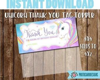 Unicorn Party Favor Tag, Unicorn Party, Unicorn, Unicorn Tag Topper, Birthday Printable, Party, Digital, Printable, INsTANT DoWNLOAD