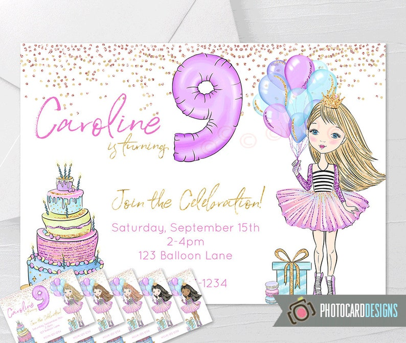 Foil Balloon Birthday Invitation Tween Birthday Invitation image 0
