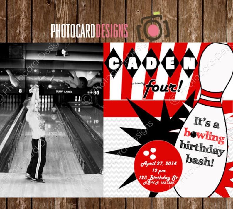 Bowling Photo Invitation Birthday Party Boy Tween Girl Teen image 0