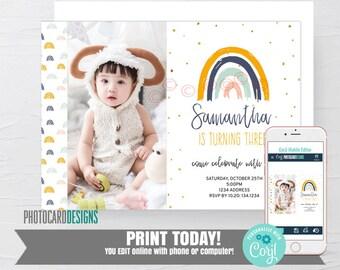 Rainbow Birthday Invitation, Fall Birthday Invitation, Rainbow Invitation, Text Invitation, Halloween, Photo Invitation, Editable Template