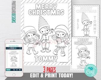 Elf Coloring Page, Editable Elf Christmas Coloring Page, Boy Elf, Girl Elf, Digital Coloring Page, Elf Christmas, Christmas Coloring Pages