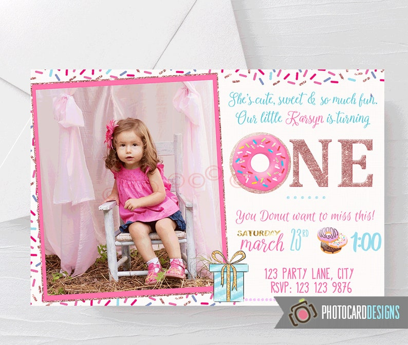Donut Birthday Invitation 1st Birthday Party First Birthday image 0