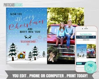 Family Christmas Card, Christmas Photo Card, Deer Christmas Card, Christmas Card Digital File, Editable Template Printable Download #23