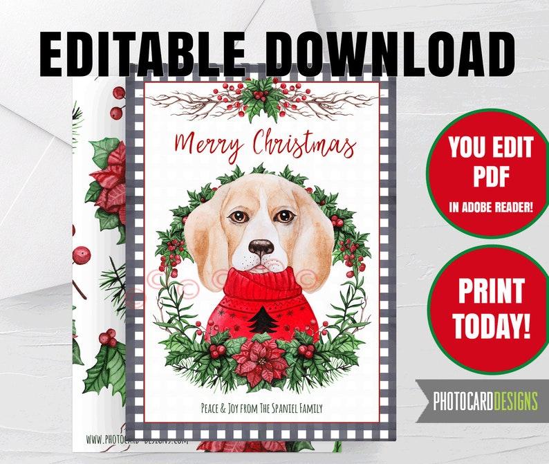 Beagl Dog Merry Christmas Card Puppy Pet Buffalo Check Plaid image 0