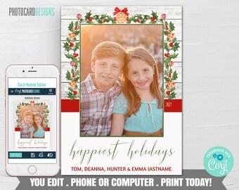 Family Christmas Card, Christmas Photo Card, Christmas Card, Christmas Card Digital File, Editable Template Printable Download Corjl #12