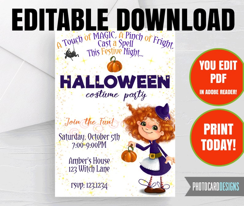 EDITABLE Halloween Invitation With Halloween Costume Party image 0