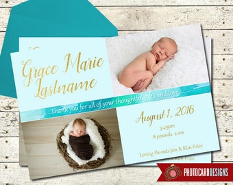 Baby Thank You Card | Thank You Photo Card | Shower Thank You | Birth Announcement | watercolor | Thanks | boy | Digital | Gold | Baby