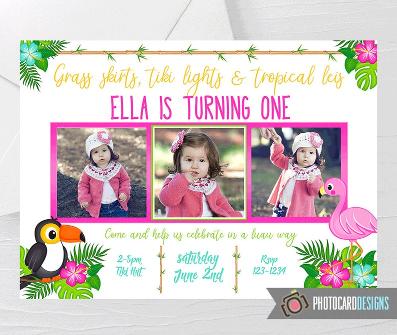 Luau Invitation Luau Photo Invitation Luau Birthday image 0