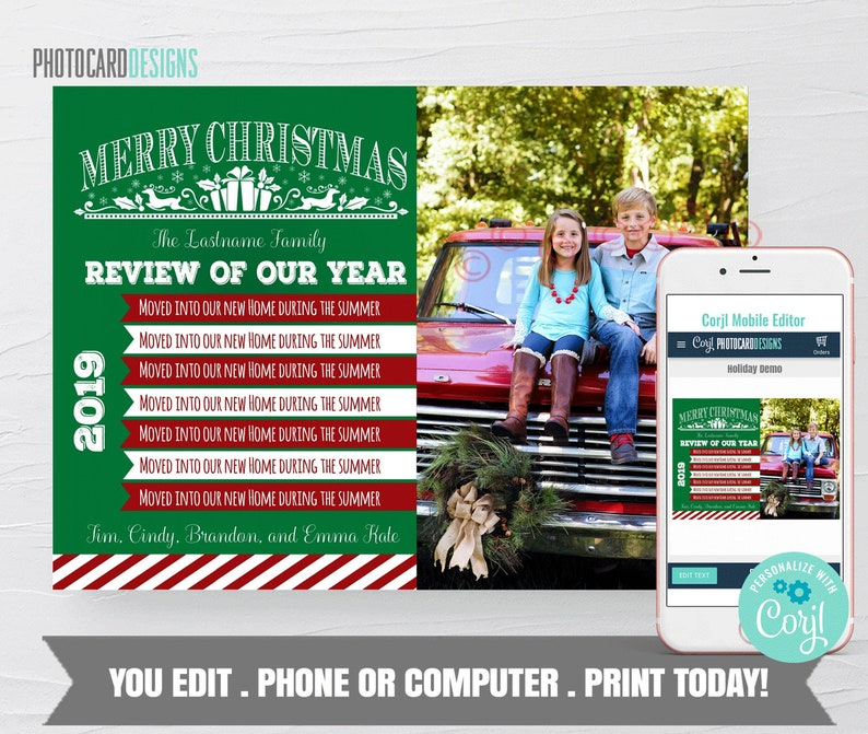 Family Christmas Card Christmas Photo Card Year in Review image 0