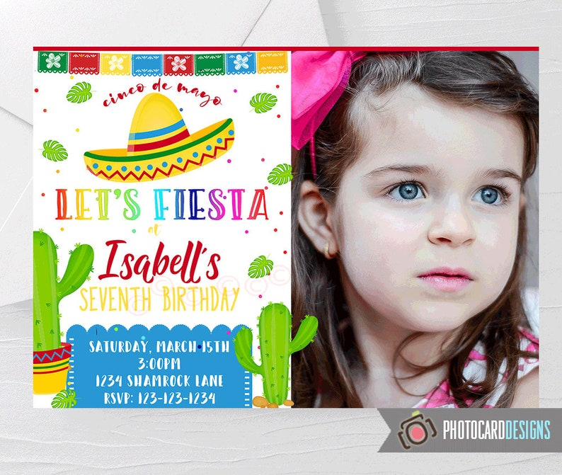FIESTA Invitation Fiesta Photo Invitation Fiesta Birthday image 0