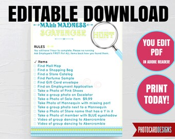 EDITABLE Mall Scavenger Hunt List, Mall Madness, Scavenger, Shopping, Printable Scavenger, Digital, INSTANT DoWNLOAD, you EDiT & PRiNT TODAY