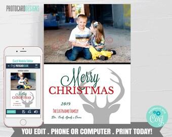 Family Christmas Card, Christmas Photo Card, Christmas Card, Christmas Card Digital File, Editable Template Printable Download #25