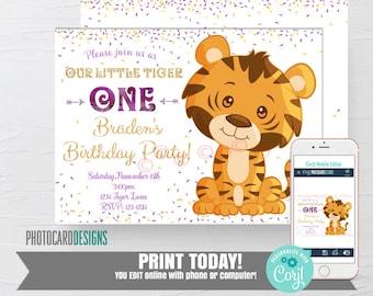 Tiger Birthday Invitation, 1st Birthday Invitation, Tiger Invitation, Louisiana Party, LSU Invitation, Digital Text Editable Template
