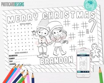 Editable Elf Activity Sheet, Elf Place Mat, Elf Coloring Page, Elf Christmas, Elf Birthday, Elf Party, Christmas Activity Sheet, Digital