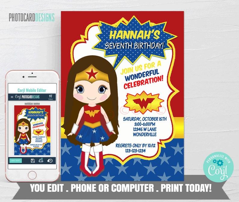 Wonder Woman Invitation Wonder Woman Birthday Invitation image 0