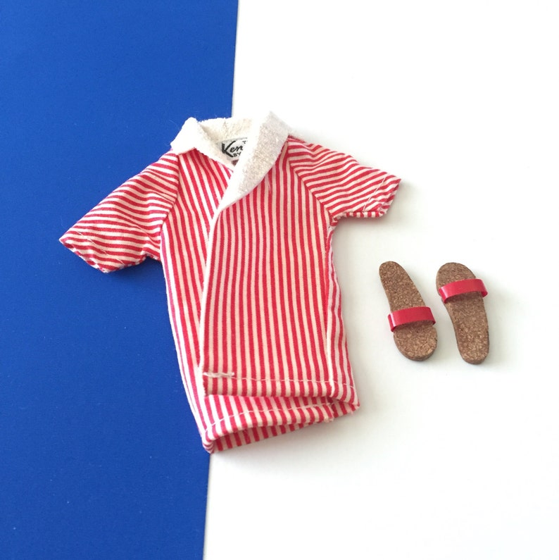 651c2273e460c Vintage Ken Doll Sandals and Red & White Striped Beach Shirt
