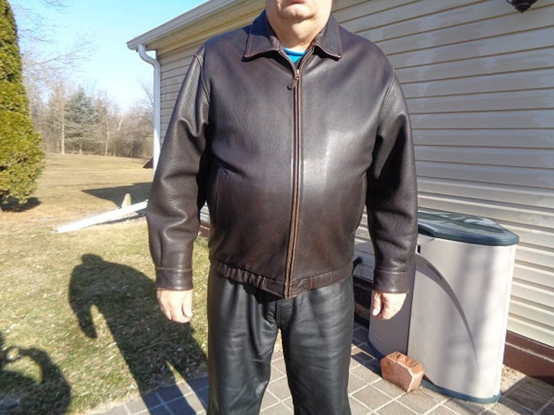 235542e48 Mans vintage 80s leather jacket,coat,by St.Johns Bay XL or 50 ,nicer quality