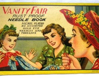 Vintage Needle Book - Needle Card - Vanity Fair Needle Book - UNUSED