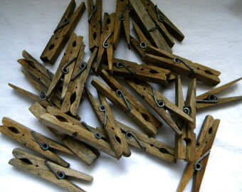 Wood Clothespins - 24  Wood Clip Clothespins - Spring Tension - Craft Supply - Photo Hanger - Assemblage - Memory Keeper