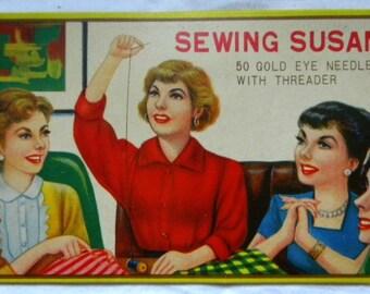 Vintage Needle Books - Needle Card - Sewing Susan Needle Book - UNUSED