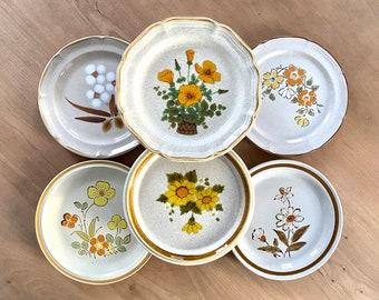 vintage Dining BOHO table /'70s home Decor bamboo pattern 4pc Plate Set bohemian Dinnerware vintage Ironstone plates mix /& match Plates