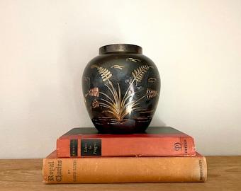 Vintage Etched Black and Brass Vase | Black and Gold Gilt Vase | Brass Vase | Black Vase