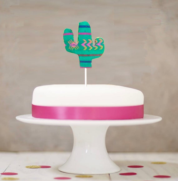 Stupendous Cactus Cake Topper Mexican Fabric Cactus Etsy Personalised Birthday Cards Fashionlily Jamesorg