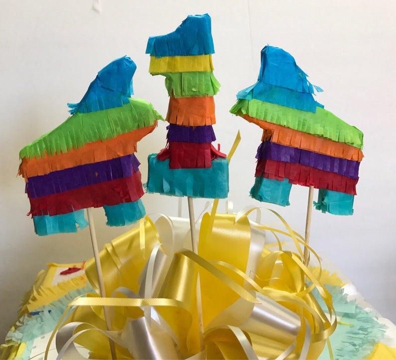 Set of 3 Fiesta Mexican fiesta first birthday centerpiece cumpleanos goodie bag party favor 1sr 2nd 3rd 30th pinata Cake Topper Pi\u00f1ata