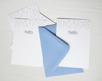 SALE Small note cards small hello notes set of 8 confetti note cards