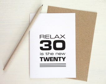 30th birthday card black print funny card relax 30 is the new twenty minimalist modern