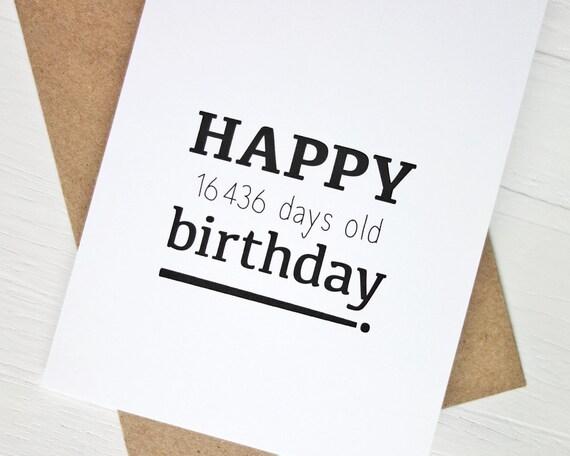 45th Birthday Card Funny Happy 16436 Days