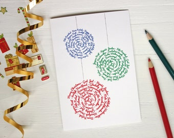 Christmas greeting cards Merry christmas cards many languages three ornaments