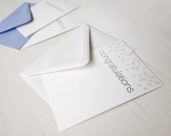 SALE Small note cards congratulations cards set of 8 confetti notecards