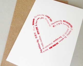 I love you card many languages anniversary card Valentines Day card two hearts love card typography greeting card