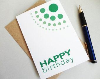 Happy birthday card green birthday card geometric greeting card dots circles