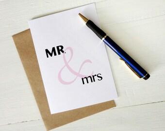 Wedding gift MR & mrs pink ampersand greeting card anniversary invitation engagement