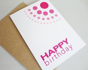 Pink Happy birthday card dots geometric print birthday card circles fuschia magenta