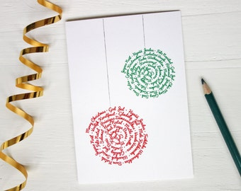 Merry christmas card many different languages holiday greeting cards two ornaments
