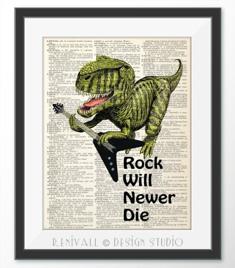Dinosaur Rock Music Quote Kids Playroom Decor Music Poster Etsy