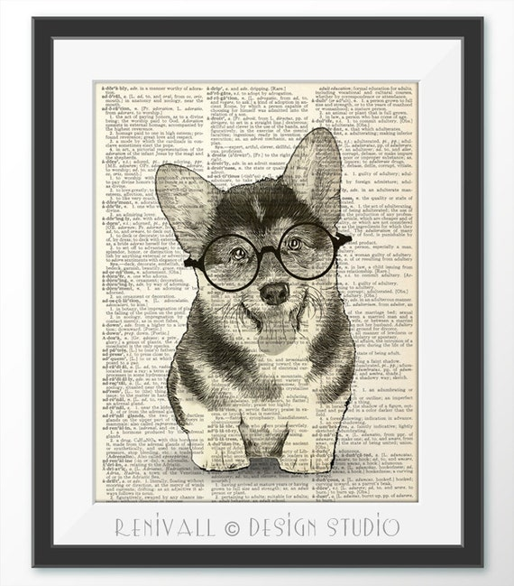 Welsh Corgi Print Vintage Dictionary Page Wall Art Picture Animal Dog In Clothes