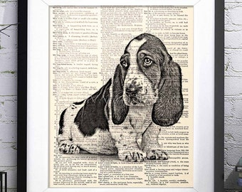 Basset Hound Dog, Dog Wall Art, Dictionary Art print, Gift ideas for book lovers, Dog Lover Gift, Art gifts prints
