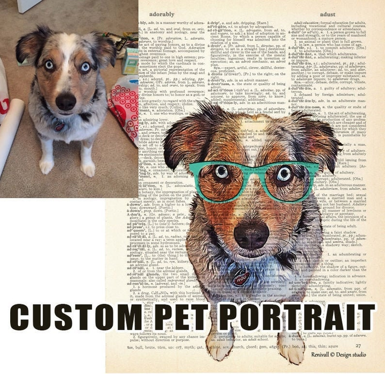 Custom Pet Portrait from photo, Art Print dictionary, Personalized Gift  Idea for Pets & Pet Lovers, Custom gifts for writers, Custom Pet Art